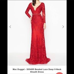 mac duggal - 50540r beaded lace deep v-neck